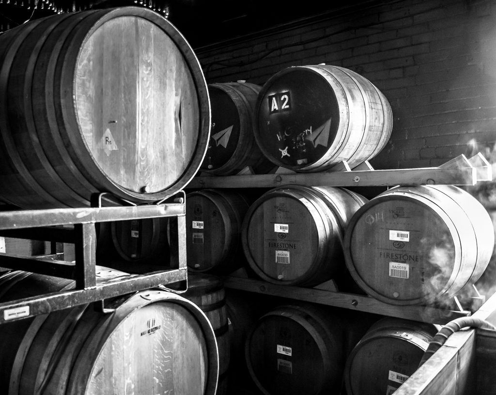Barrels of Beer in B&W