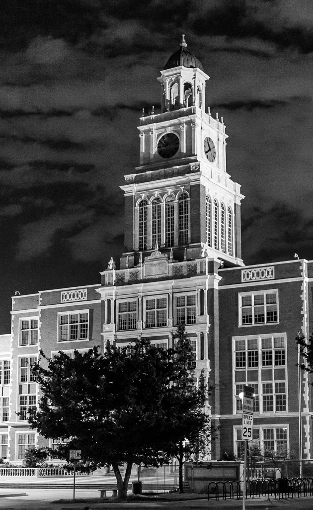 Night image of East High School