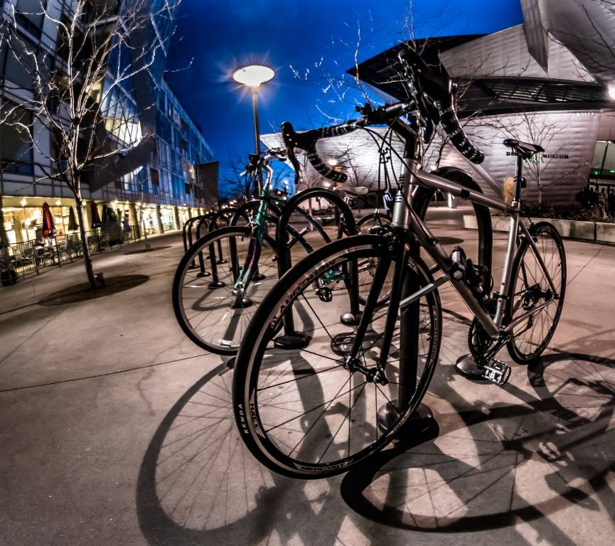 Bicycles in rack at night