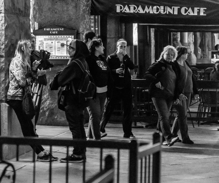 Pedestrians in front of Paramount Cafe