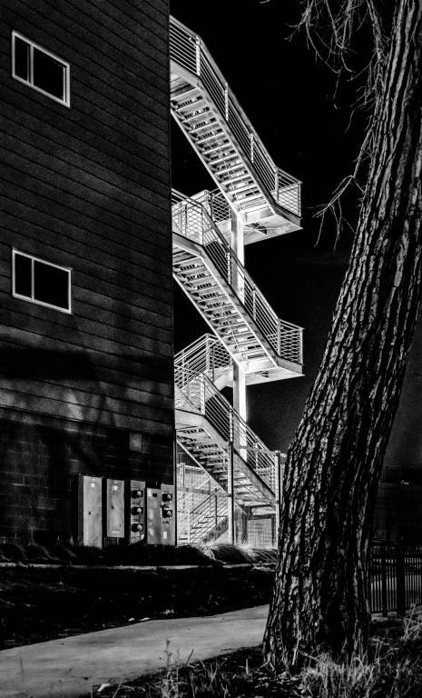 Stairs on apartment house at night