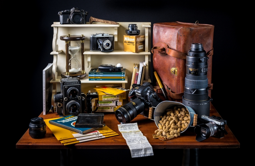 Still life of photography items