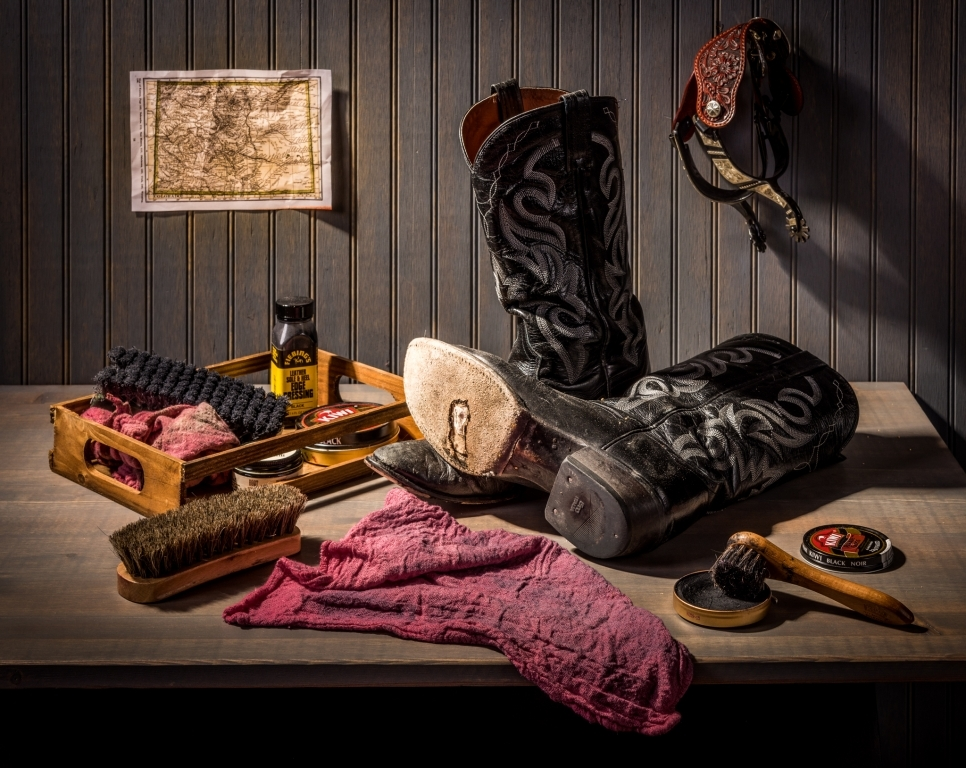Still life with worn boots