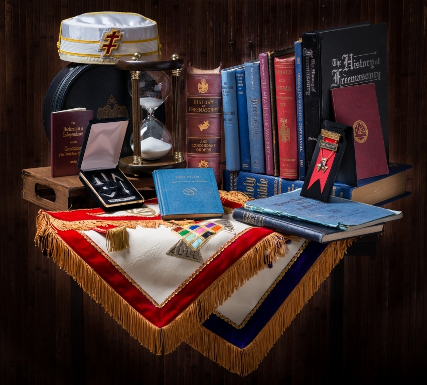 Still life of Masonic items