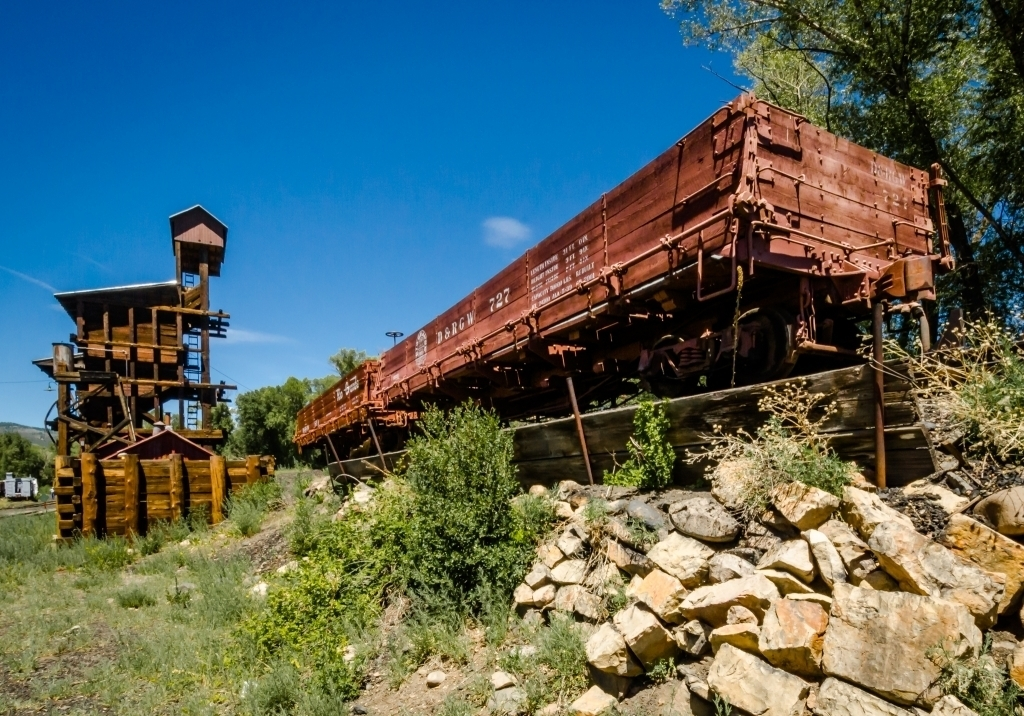 Coal gondolas and coaling tower, Chama, NM