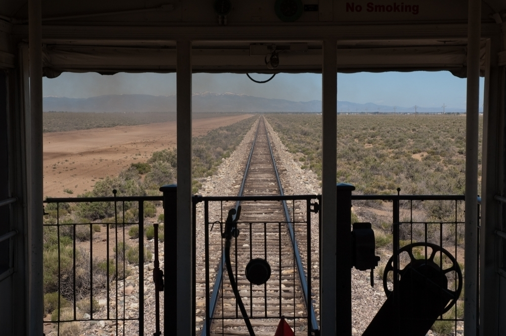 Looking back from observation car towards Alamosa, CO